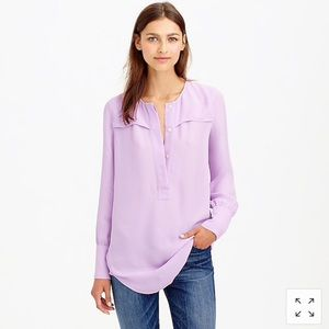 J. Crew Covered Button Crepe Blouse